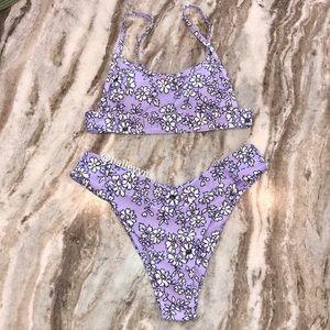 Purple Floral Pattern Bikini Set